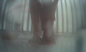 GF teen feet in shower with pee