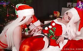 Christmas elf Elsa Jean getting ass fucked by lesbian lover with dildo
